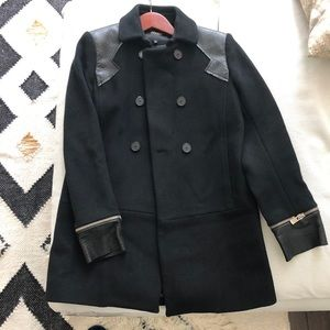 Maje Black wool leather accented coat